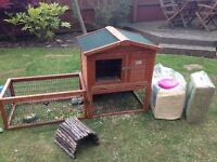 Guinea Pig / Rabbit Hutch, with snugglesafe heater matt, fences, bottle and hay