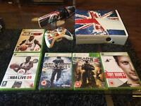XBox 360 with Kinect, wireless controller and 5 games