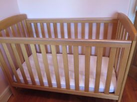 Mamas & Papas Sherwood Solid Oak Cot & Mattress Good condition