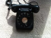 Vintage GPO series 1706L Knightsbridge black telephone. Made 1959 to 1967.Good condition.