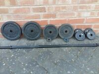 YORK CAST IRON WEIGHTS SET WITH BARBELL