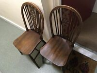 Two antique, dark wood, dining chairs. Quick and cheap sale!