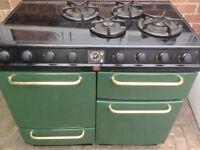 Range black green gas dual cooker...90cm. Cheap