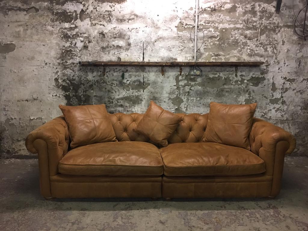 john lewis aniline leather oversized tan chesterfield sofa. Black Bedroom Furniture Sets. Home Design Ideas