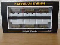 Graham Farish N Gauge - 377-225Z - Set of 6 BR 16 Ton Steel Mineral Wagons Grey / Weathered