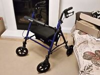 *BRAND NEW* ROLLATOR WALKING SHOPPING AID / FRAME / WALKER / ZIMMER - WITH 4 WHEELS, SEAT & BRAKES