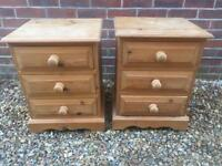 Solid chunky pine bedside tables. Dovetail Joints.