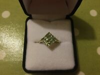 Gold 9ct ring set with cluster 16 Tsavorite Garnets