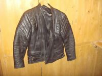 Bike leathers. 2 piece. black size Jacket: 46in chest. trousers 29 in leg. Good condition.
