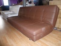 Modern Design Tufted Brown Leather Sofa Bed 3 seater