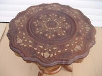 INDIAN HAND CARVED TABLE BRASS INLAYED TABLE COPPER INLAY INDIAN TABLE MARQUETRY