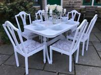 Dining Table & 6 Chairs ~ Extends ~ SILVER CRUSHED VELVET