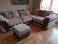 Right hand corner sofa and foot stool for sale!!