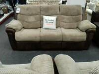 Suite 3+1+1 upholstered in faux brown leather and beige fabric - British Heart Foundation sco39426