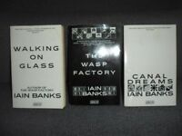 IAIN BANKS - 3 x Abacus Paperbacks: THE WASP FACTORY Canal Dreams WALKING ON GLASS