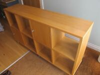 John Lewis oak veneer cube storage unit / shelves with 2 doors.