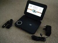 "Portable DVD player with 7"" screen + 2hour built in rechargeable battery"