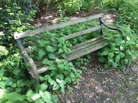 Vintage Iron/Timber Industrial Look Garden Bench