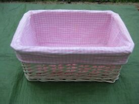 White Wickerwork Basket with Pink and White Checkered Lining for £3.00