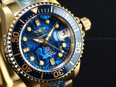 New Invicta Womens 300M DIAMOND GRAND DIVER Automatic Lim.Ed. Blue Abalone Watch