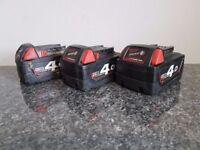 Milwaukee M18 Red Lithium 18v li-ion 4.0ah batteries,x3,,,,MAKITA DeWALT