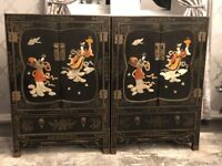 A pair of vintage Chinese cabinets