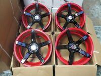 17 inch RED AND BLACK 5 SPOKE ALLOY WHEELS ALLOYS/RIMS fits AUDI SEAT SKODA VW SUBARU TOYOTA