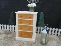 SOLID PINE FARMHOUSE CHEST OF DRAWERS PAINTED WITH LAURA ASHLEY CREAM COLOUR AND WAXED