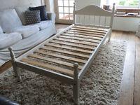 Pretty White Single Pine Bed