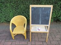 Childs Blackboard/Whiteboard & Wicker Chair