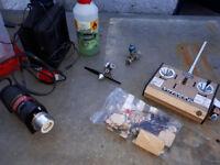 Aero modeler job lot - classic Futaba radio gear, starter, and a couple of engines