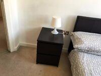 Bedside cabinet black brown 2 drawers. Bed side.