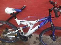 dunlop 18 geared full suspension mountain bike