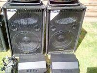 Speakers , amp, stands ,lights