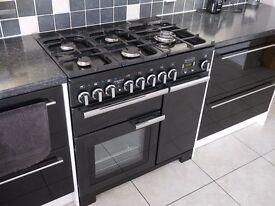 RANGEMASTER Professional Deluxe 90cm Dual Fuel Range Cooker - Black