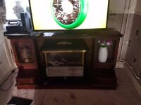 WOODEN TV STAND WITH ELECTRIC HEATER