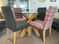 Next Oak & Glass Round Dining Table with 4 Chairs
