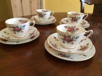 Antique , vintage 4 Crown Staffordshire Fine Bone China 'Dresden Spray' Trios (12pieces) tea set