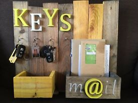 Wall hung key holder and mail organiser