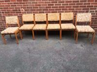 Vintage Teak Dining Chairs Mid Century Retro 60s 70s