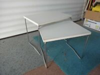 White and Chrome metal occasional tables