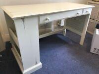 Vintage style wooden desk - cream colour