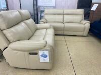 La- Z- Boy Wentworth Power Recliner 3 plus 2 seater cream leather sofa set