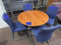 Cherry effect circular Meeting Table, 1000mm diameter, with 4 upholstered cantilever chairs