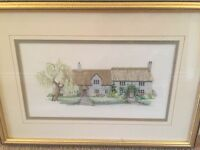 Embroidered cottage picture
