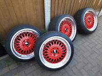 "RED Alloys 18"" Bbs RS RX RK LM inspired Nearly new & tyres Alloy wheels fits Mercedes c e class cls"