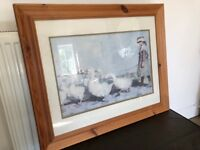 Large antique pine picture frame and picture