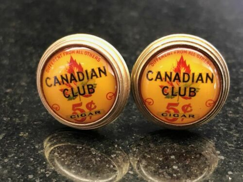 CANADIAN CLUB VINTAGE 5 cent cigar SOLID BRASS CUFFLINKS