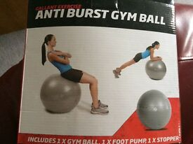 Silver pregnancy yoga ball. 75cm ball, foot pump and stopper