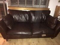 Free M&S brown leather sofa 2+ 3 seater